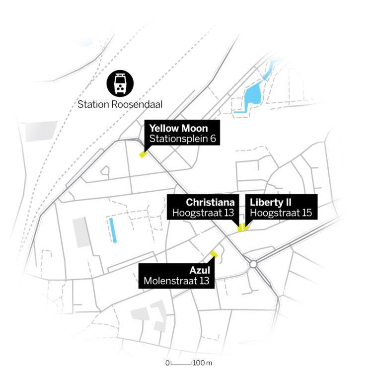 De locaties van de vier gesloten coffeeshops in Roosendaal. Beeld