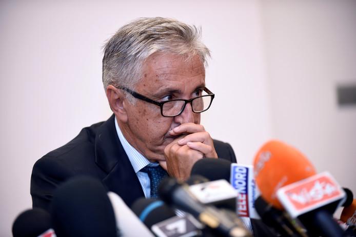 Giovanni Castellucci tijdens een persconferentie over de instorting van de Morandi-brug, in augustus vorig jaar.