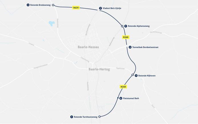 De randweg van Baarle-Nassau. Het noordelijke deel tot en met de rotonde Alphenseweg is nu klaar. De rest moet eind volgend jaar klaar zijn.