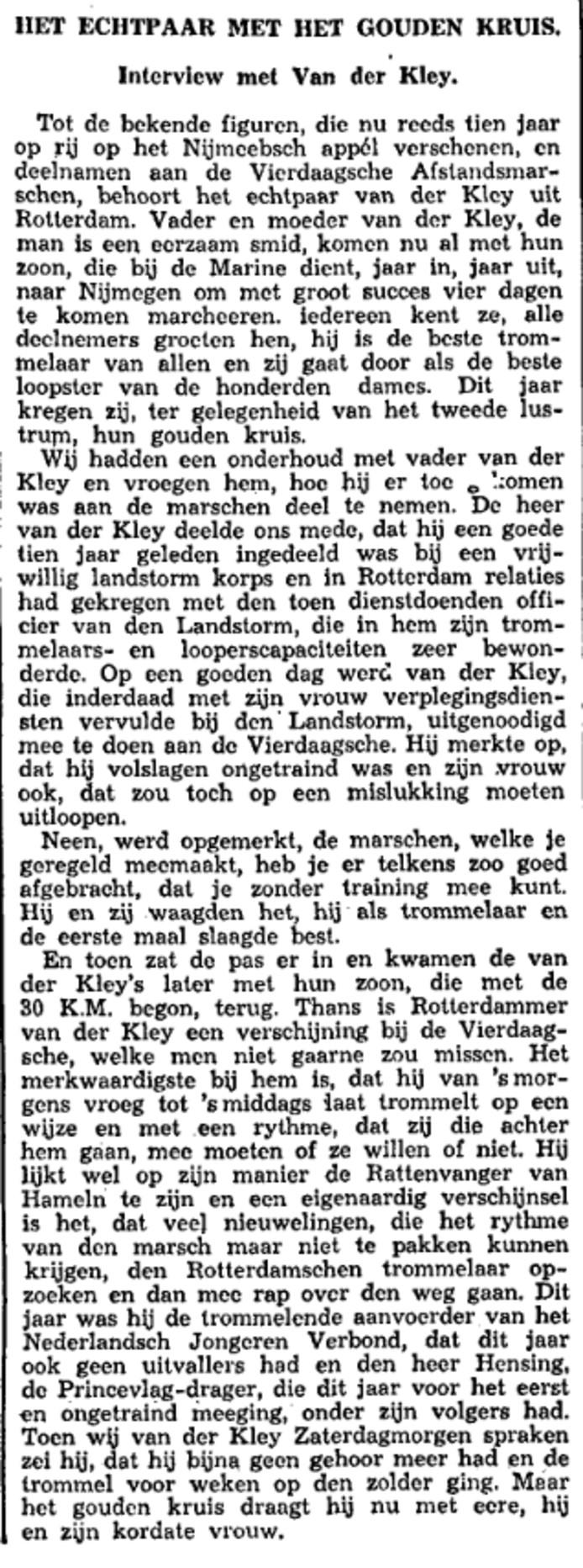 Het interview met de heer Van der Kley.