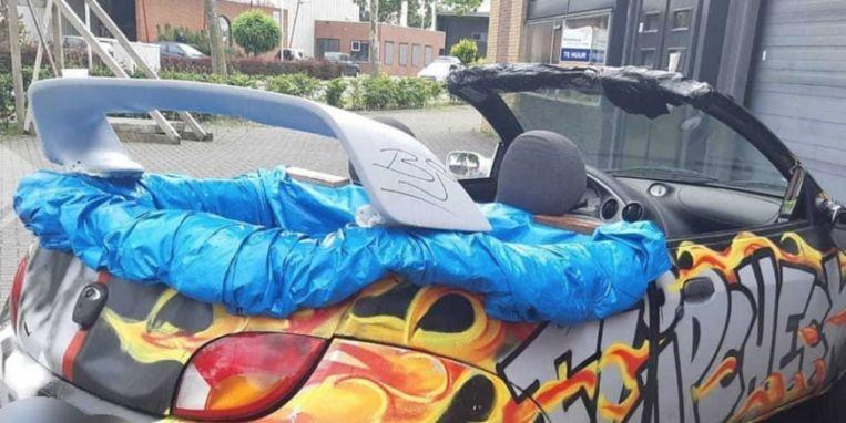 De Ford Ka die van de weg werd gehaald door de politie.