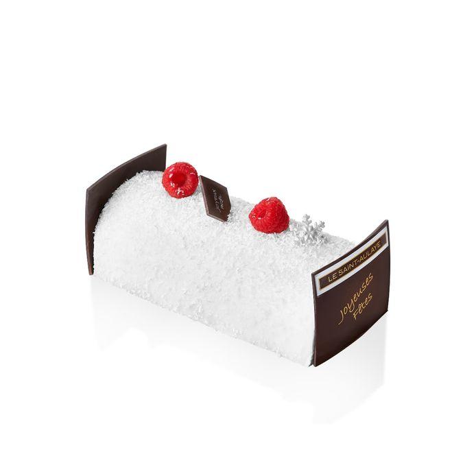 La pâtisserie Le Saint-Aulaye propose Symphonie, sa bûche signature. Une mousse coco avec un coulis de fruit de la passion, une compotée à la framboise, un biscuit croquant coco  sans sucre ajouté, sans lactose et sans gluten de blé. Prix: 36 euros pour 6 personnes.