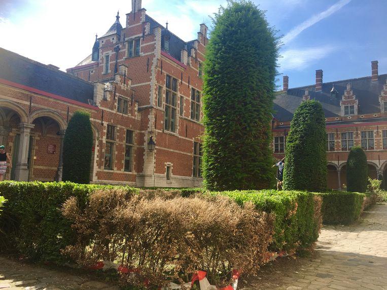 Een tuinaannemer is maandagochtend begonnen met de opfrissingswerken in de tuinen van het gerechtsgebouw in Mechelen.