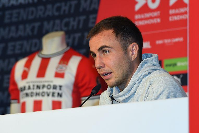 De kersverse PSV'er Mario Götze bij zijn perspresentatie in Eindhoven.  Beeld BSR Agency