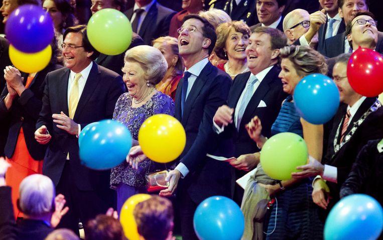 Het bedankfeest in 2014 voor Beatrix, met onder andere premier Rutte en koning Willem-Alexander. Beeld ANP