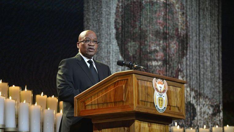 President Zuma tijdens zijn toespraak vandaag. Beeld anp