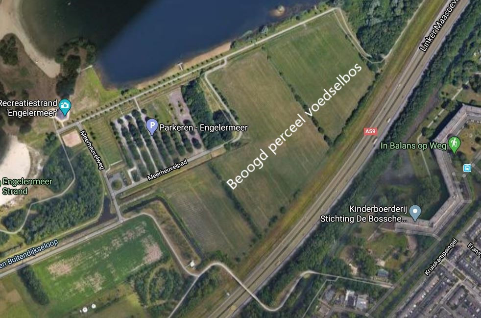 Het grootste perceel voor de aanleg van een voedselbos in Den Bosch ligt bij het Engelermeer. De oppervlakte bedraagt 7,2 hectare. Het meest linkse deel, ten zuiden van het Meerheuvelpad, hoort er niet bij.