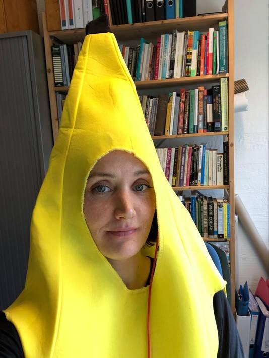 Jessica Duncan in haar bananenpak.