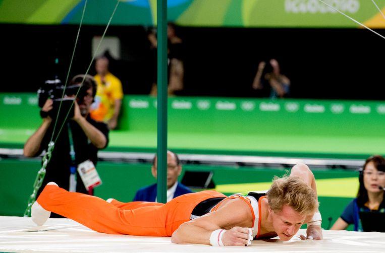 Epke Zonderland wil voorkomen dat zijn val in Rio het slotstuk van zijn olympische carrière is. Beeld ANP