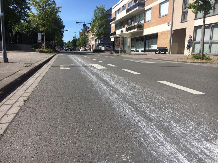 Het verfspoor start in de Burgemeester Vandenbogaerdelaan.