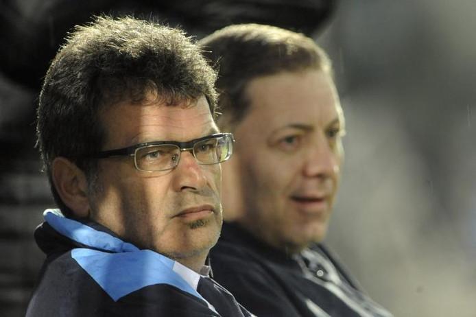 Ted van Leeuwen (links) naast Vitesse-eigenaar Merab Zjordania. foto Hans Broekhuizen/De Gelderlander