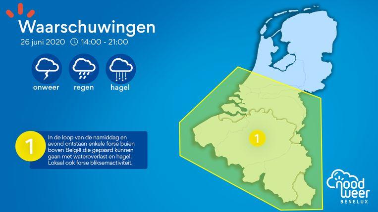 De onweerskansen van vrijdag boven de Benelux in kaart. De level 1-waarschuwing die NoodweerBenelux afkondigt, geldt voor de periode tussen 14 en 22 uur.