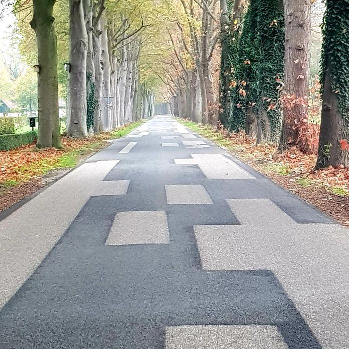 Mondriaan door wegonderhoud aan de Oude Diepenheimseweg in Geesteren.