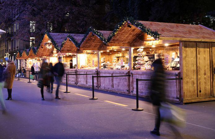 Kerstkraampjes in het centrum van Zürich