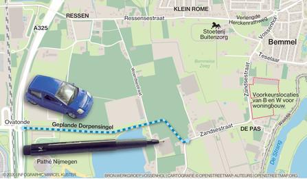 Hoe hard straks op de Dorpensingel  tussen Bemmel en de Ovatonde bij Ressen en Lent : 50 of 80 kilometer per uur?