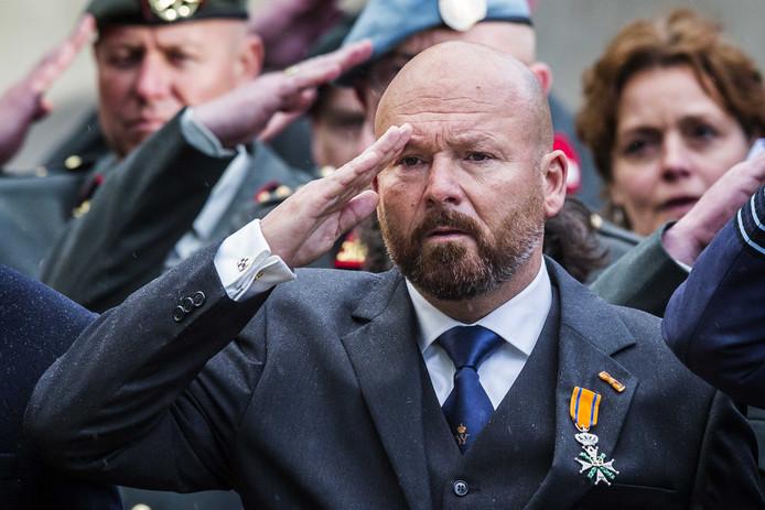Marco Kroon, met de Willems-Orde op zijn revers, tijdens de Dodenherdenking op Militair Ereveld Grebbeberg in Wageningen.