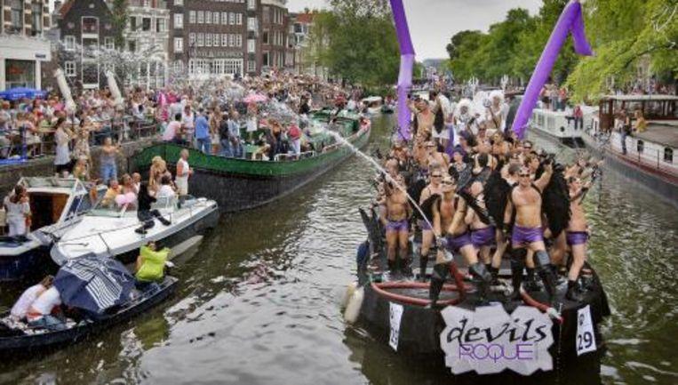 De Canal Pride vorig jaar. Dit jaar vaart Tweede Kamerlid en woordvoerder homo-emancipatie Corien Jonker voor het eerst mee namens het CDA. ANP Beeld