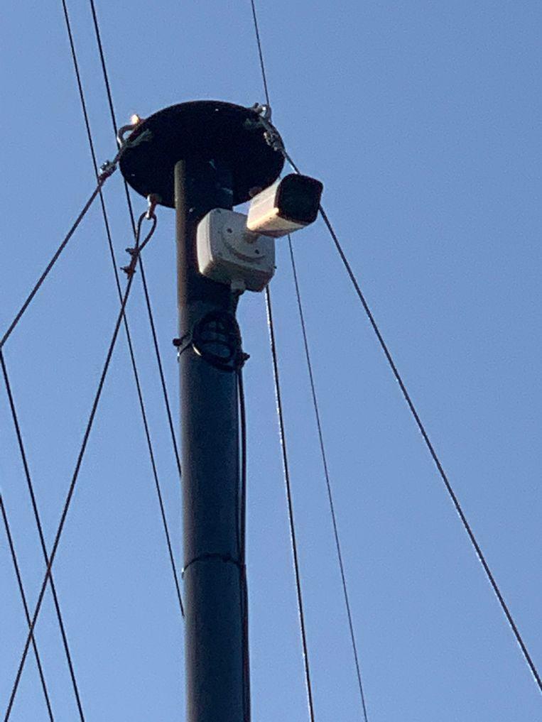Zo ziet de webcam eruit op het recyclagepark.