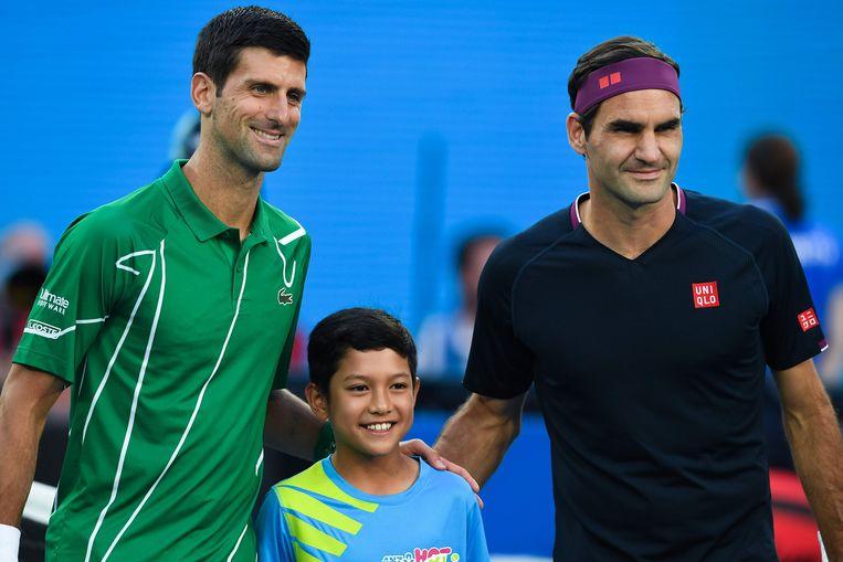 Novak Djokovic en Roger Federer op de Australian Open.