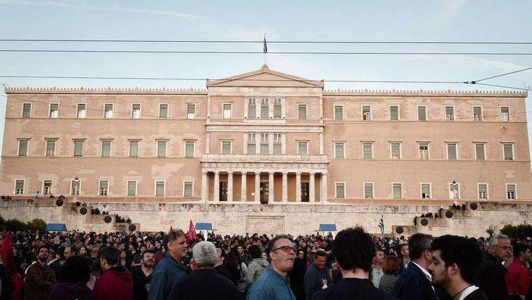 Betogers voor het Griekse parlement in Athene