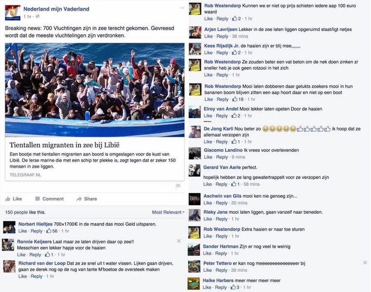 Op de Facebookpagina `Nederland mijn Vaderland'(170duizend volgers) werd vorige week druk gediscussieerd over bootvluchtelingen bij Libië. Beeld