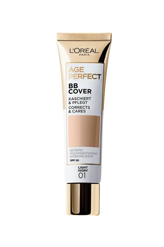 BB Cover d'Age Perfect - infusé d'un sérum super-hydratant, un produit qui allié soin et maquillage - Disponible chez Kruidvat et Di - Prix: 15,99 euros.