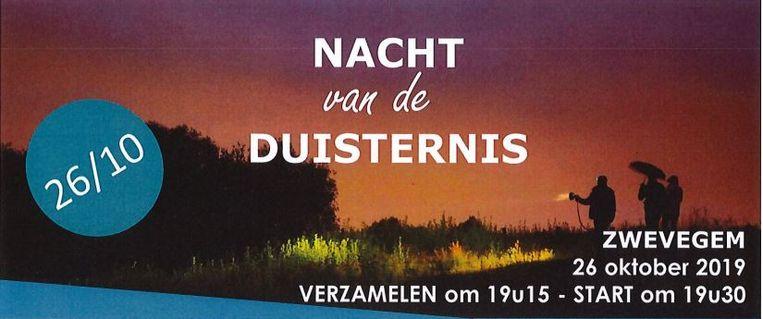 Komende zaterdag organiseert Natuurpunt Zwevegem, in samenwerking met de gemeente Zwevegem en Stadlandschap Leie en Schelde, de Nacht van de Duisternis.