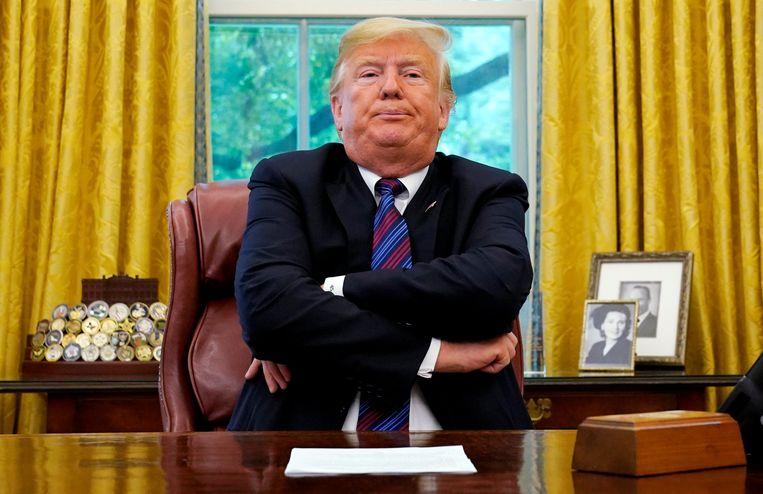 President Donald Trump eind augustus in het Witte Huis.  Beeld Reuters