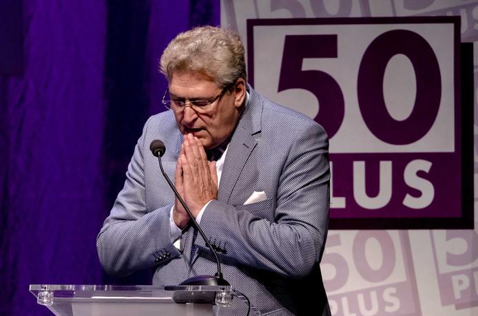 Partijleider Henk Krol tijdens de algemene ledenvergadering van 50Plus