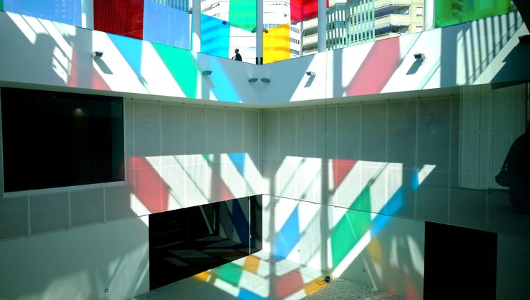 Centre Pompidou in Málaga, onder El Cubo: een 12 meter hoge glazen kubus. Beeld Centre Pompidou Málaga