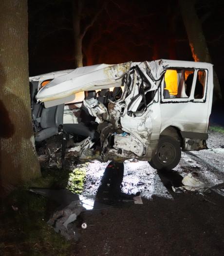Bestelbus verwoest na klap tegen boom bij Dedemsvaart, bestuurder (21) gewond