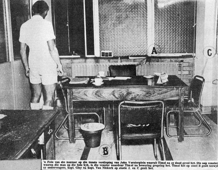 Dossierfoto van de kamer waar Timol werd verhoord.  Beeld Privé-archief