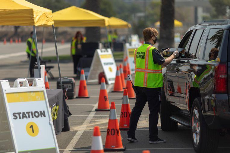 Ook drive-thru stemmen is dit jaar mogelijk.   Beeld Getty Images