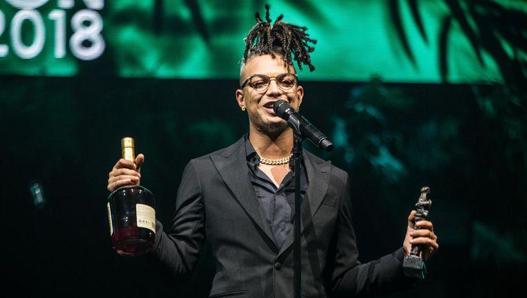 Ronnie Flex wint Edison Best Hiphop tijdens de uitreiking van de Edison POP 2018 prijzen in de Westergasfabriek in Amsterdam. Beeld anp