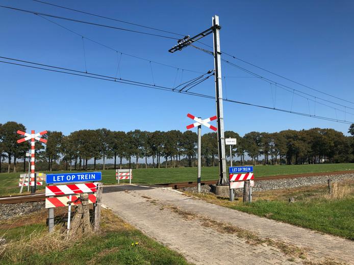 Een onbewaakte spoorwegovergang bij Dalfsen.
