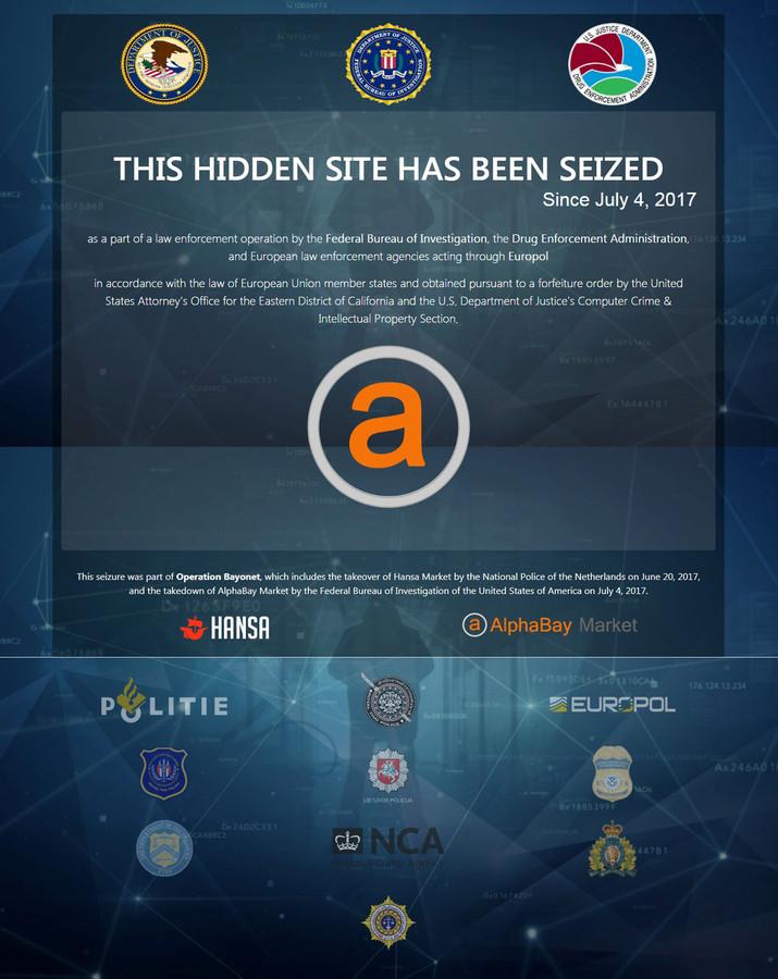 Alphabay nadat de darkweb marktplaats uit de lucht was gehaald.
