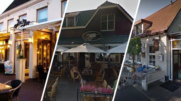 Café Jan en Jan in Didam (links), Jansen & Jansen in het Gelderse Hengelo (midden) en De Pub in Rossum.