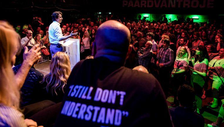 Klavers boodschap tijdens zijn jongste meet-up: 'Onze idealen zijn te mooi voor de zijlijn.' Beeld Freek van den Bergh / de Volkskrant