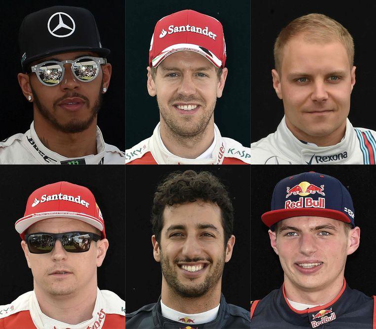 Van boven l naar beneden r: Hamilton, Vettel, Bottas, Raikkonen, Ricciardo en Verstappen.