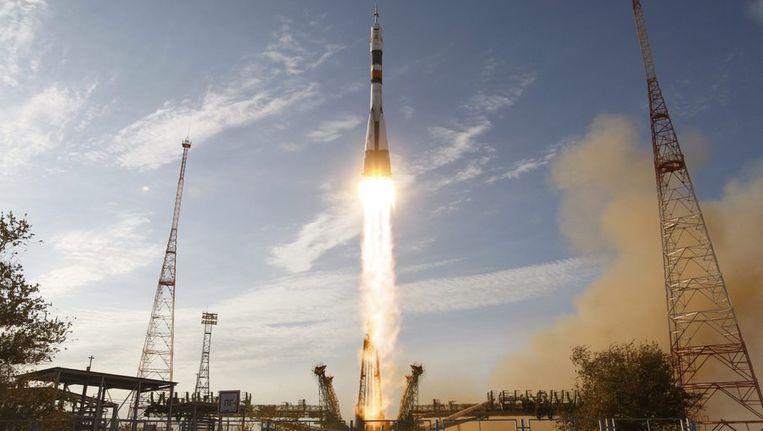 De lancering van de raket naar het ISS. Beeld reuters
