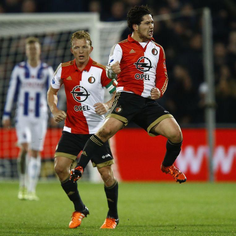 Feyenoord speler Anass Achahbar heeft de 1-1 gescoord. Beeld anp