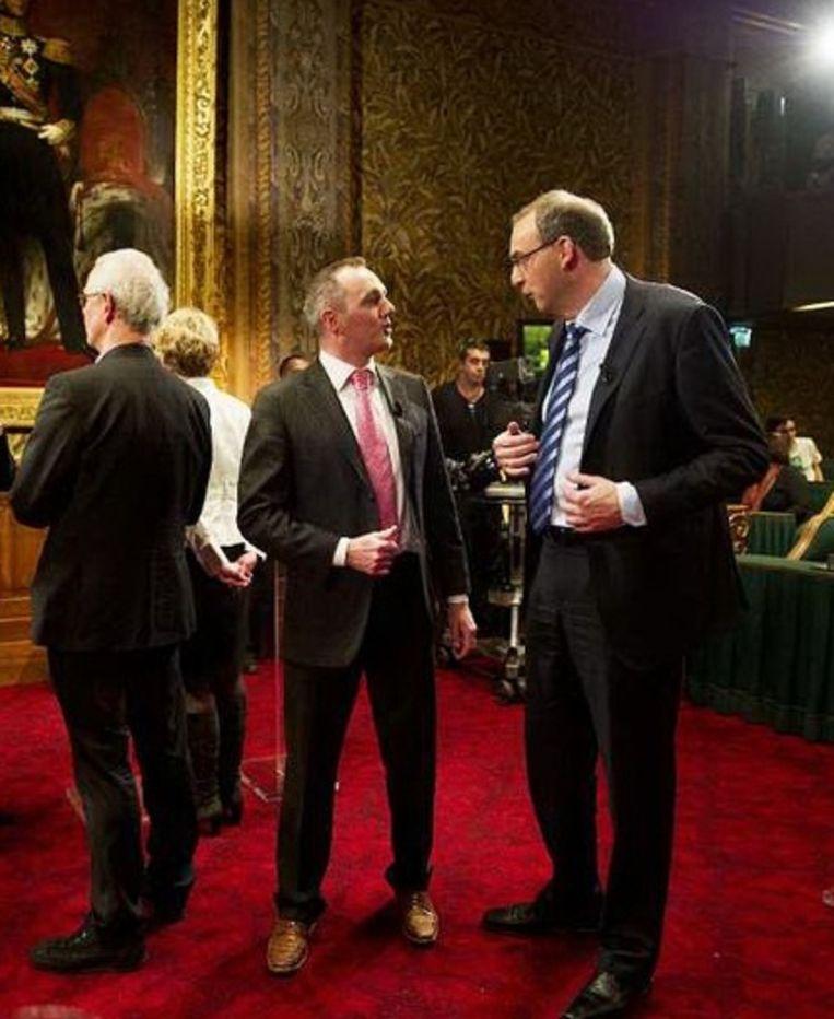 Machiel de Graaf van de PVV (L) en Roel Kuiper van de Christenunie (R) na afloop van het NOS-debat. Foto: anp Beeld