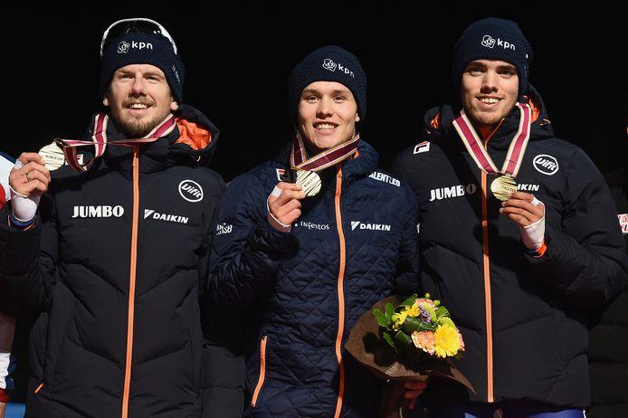 Goud! Vlnr: Douwe De Vries, Marcel Bosker en Patrick Roest op het podium.