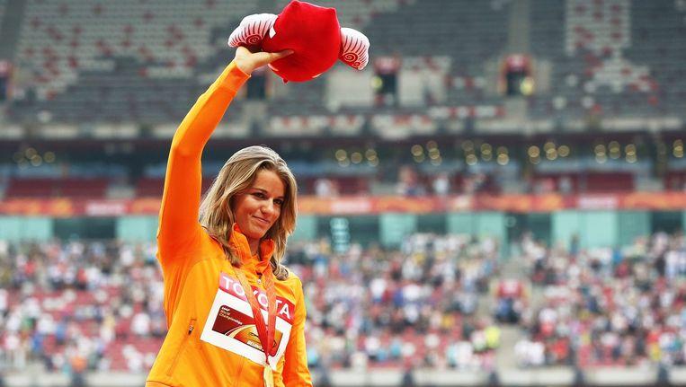 Dafne Schippers na het winnen van de gouden medaille. Beeld anp