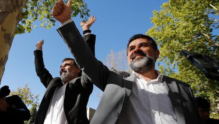 Jordi Sànchez en Jordi Cuixart, de leiders van de twee grote Catalaanse onafhankelijkheidsbewegingen. Beeld anp