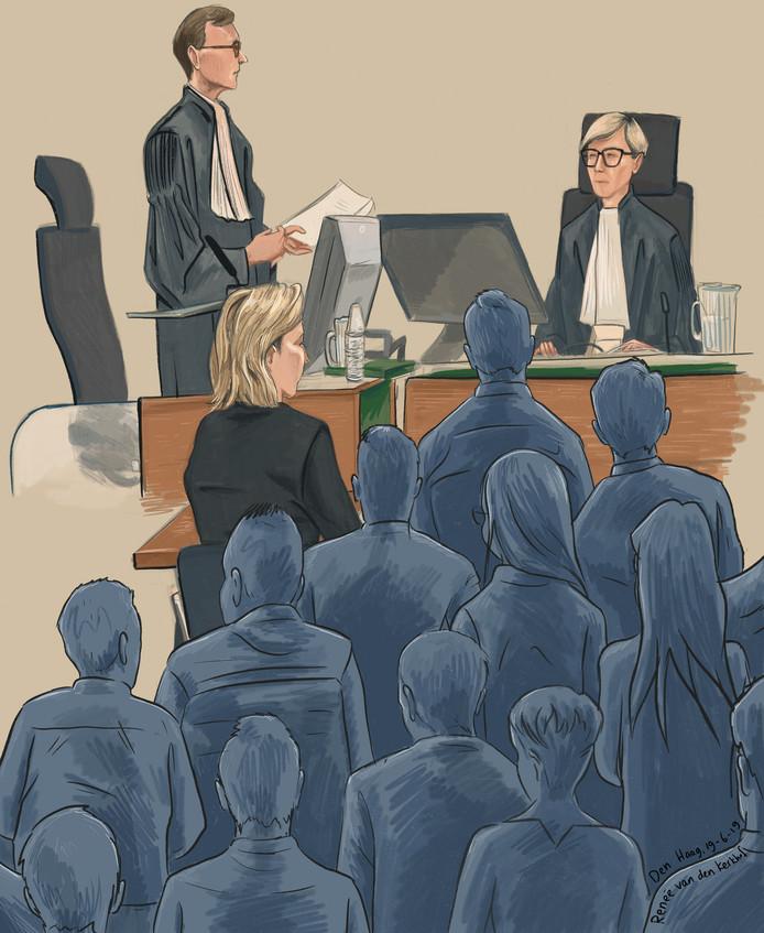 Officier Sten Habets (links), kantonrechter Ingeborg Spros (rechts) en tolk Magda (midden) tijdens de bulkzitting in de Haagse rechtbank.