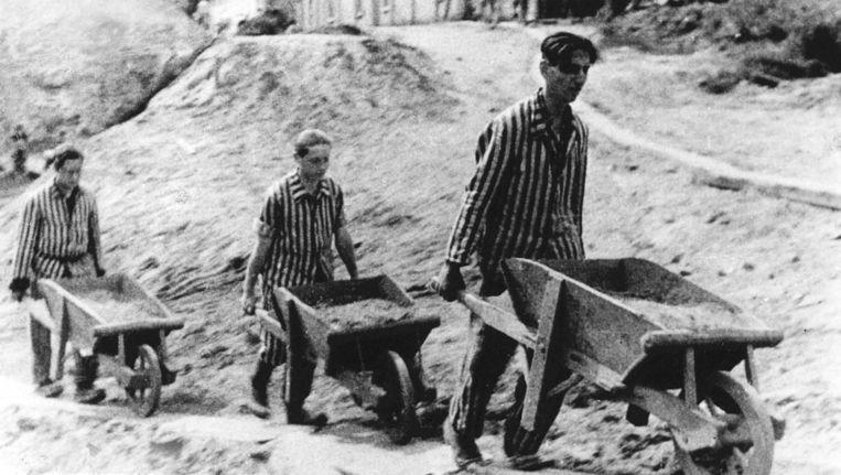 Gevangenen aan het werk in kamp Vught. Beeld anp