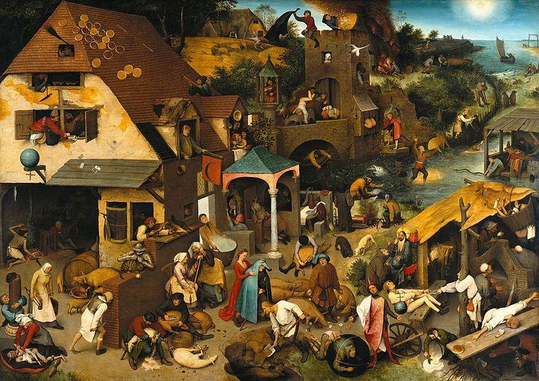 Pieter Bruegel de Oude vereeuwigde de vlaaien in zijn meesterwerk 'Nederlandse Spreekwoorden'.