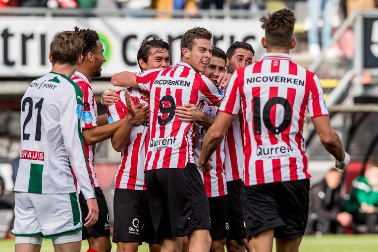 Sparta is niet langer hekkensluiter in de eredivisie en FC Groningen zakt naar de 14e plaats. Beeld anp