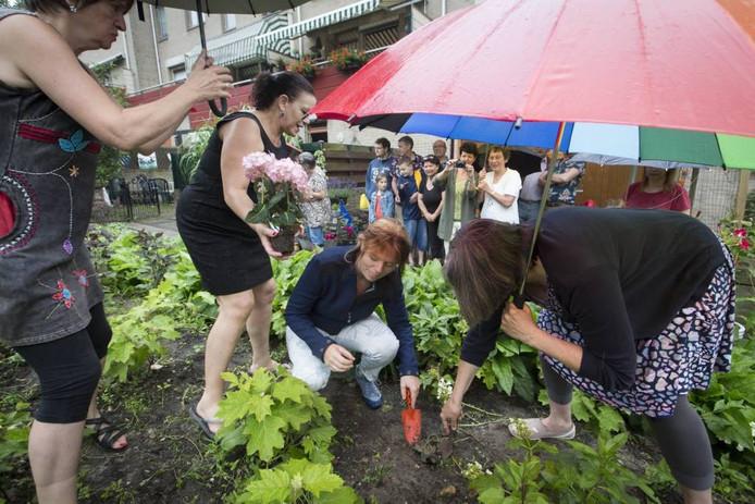 Opening van het buurtplantsoen Spinthuisplaats.